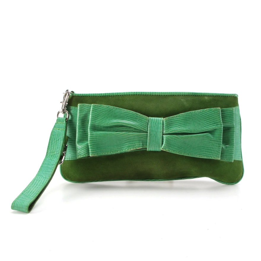 Isabella Fiore Green Suede and Lizard Embossed Leather Wristlet with Bow