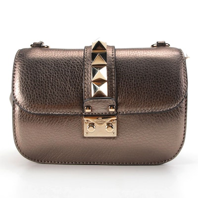 Valentino Glam Rockstud Bronze Metallic Grained Leather Front Flap Bag