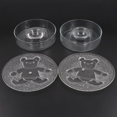 Krosno Chip and Dip Bowls with Sterling and Pilgrim Glass Teddy Bear Platters