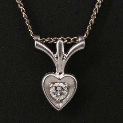 14K Diamond Heart Pendant Necklace with Palladium Accents