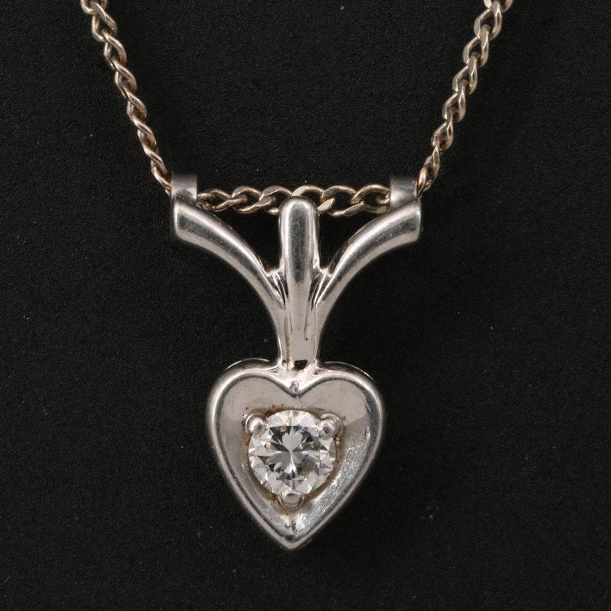14K Diamond Heart Pendant Necklace with Palladium Accents