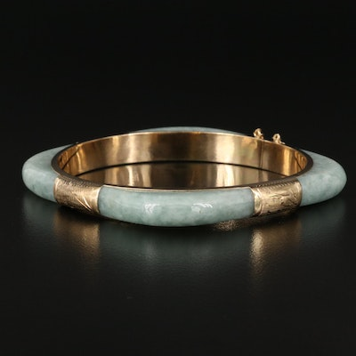 14K Hinged Jadeite Bangle with Engraved Details