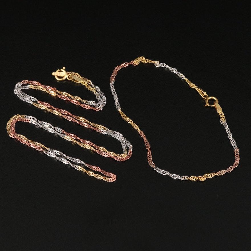 Italian 14K Tri-Color Gold Cable Link Bracelet and Necklace Set