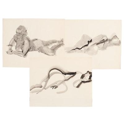 John Tuska Watercolor Figural Drawings, Mid to Late 20th Century