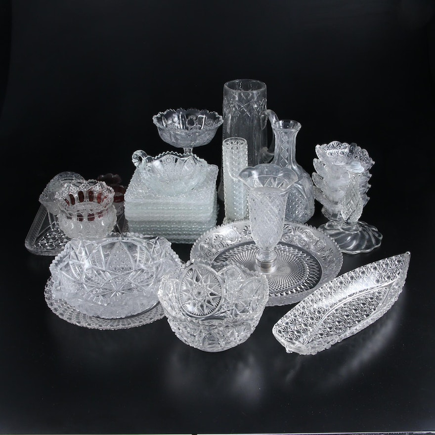 EAPG Daisy and Button Canoe and Other Glass Tableware, Early to Mid 20th Century
