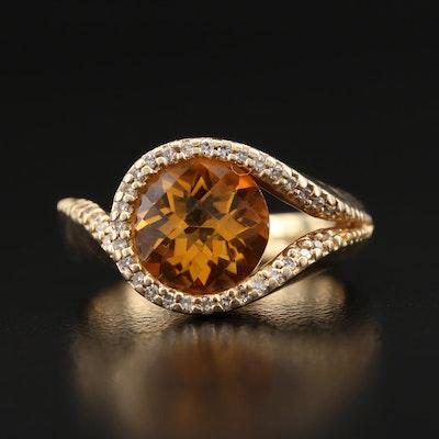 14K Citrine and Diamond Loop Ring