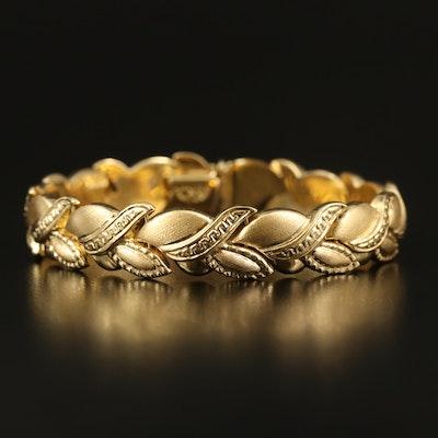 18K Repousse Fancy Link Bracelet