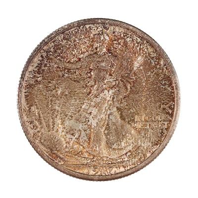 Toned 1917 Walking Liberty Silver Half Dollar