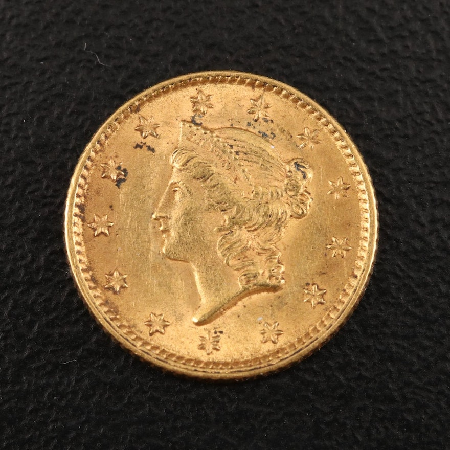 1853 Type I Liberty Head $1 Gold Coin