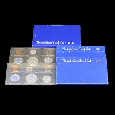 Five Vintage U.S. Mint Proof Sets Including Silver