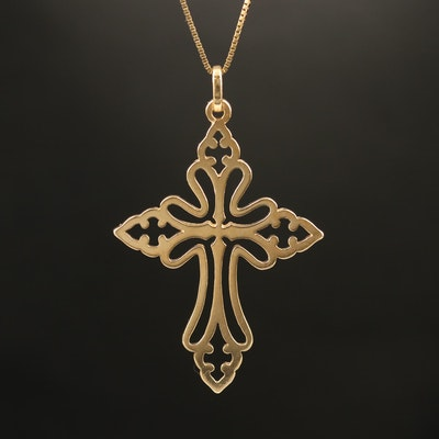 James Avery 14K St. Cecilia Cross Pendant Necklace