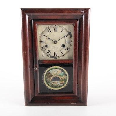 Seth Thomas Reverse Painted Glass Mahogany Ogee Clock, Late 19th Century
