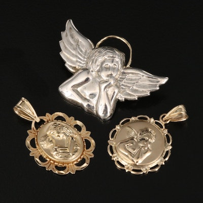 Michael Anthony Sterling and 14K Cherub, Mother and Child Pendants