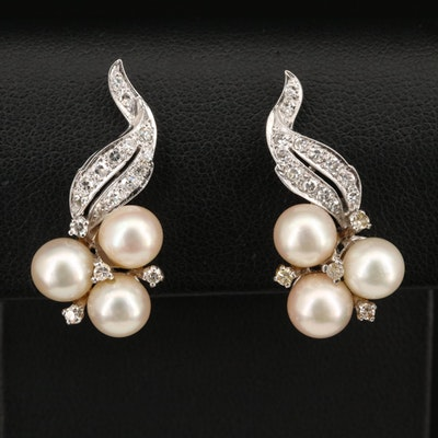 14K Pearl and Diamond Foliate Clip Earrings