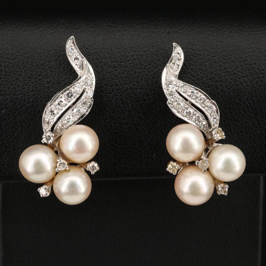 14K Pearl and Diamond Foliate Clip Earrings