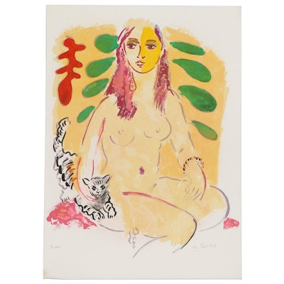 Wayne Ensrud Color Lithograph of Posing Nude, 1980