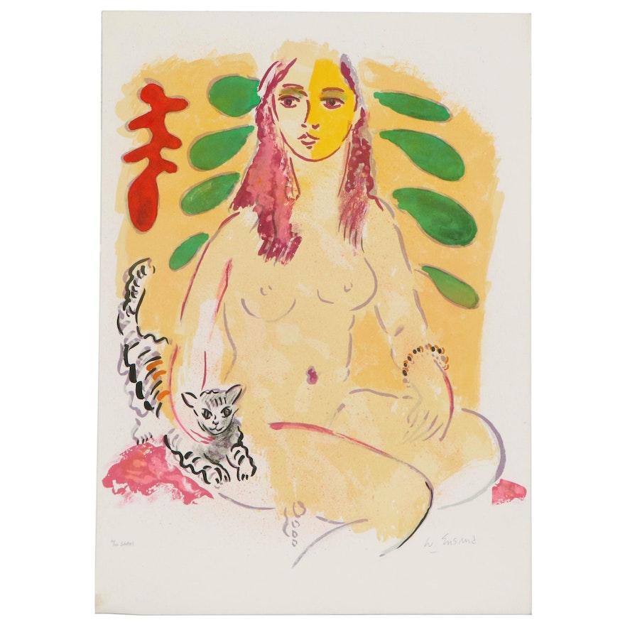 Wayne Ensrud Color Lithograph of Posing Nude, 1980