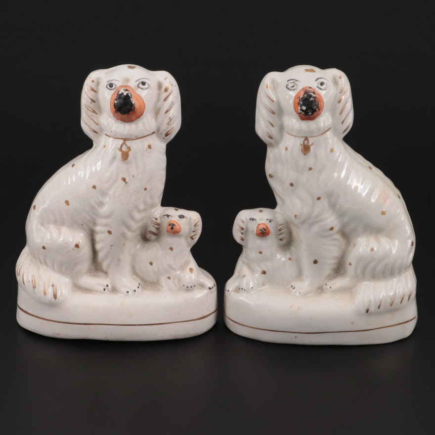 Pair of Staffordshire Spaniel with Pup Figurines, Mid to Late 19th Century