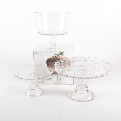 Luigi Bormioli Exhibit I Footed Bowl with Glass Cake Stands