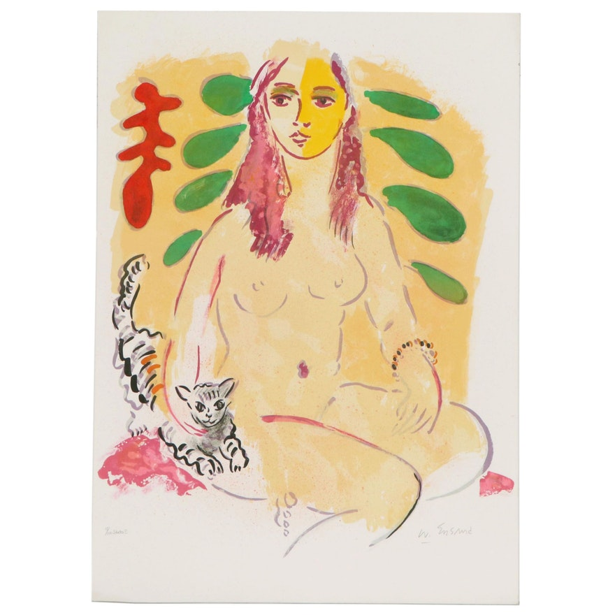 Wayne Ensrud Color Lithograph of Seated Nude, 1980