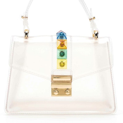 Clear Rainbow Studded Lock Satchel