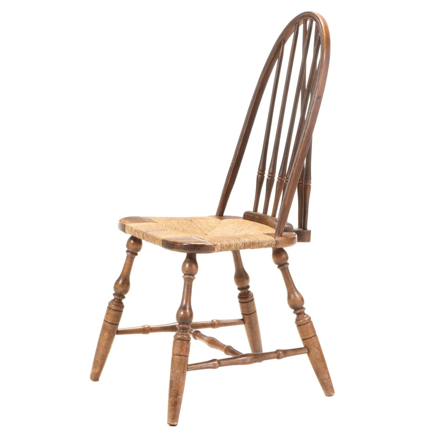 Bow-Back Windsor Side Chair with Rush Seat, 19th Century