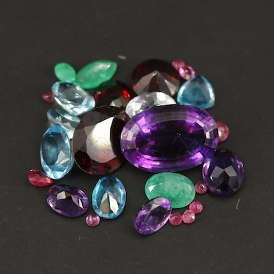 Loose 30.58 CTW Gemstones Including Amethyst, Ruby and Emerald