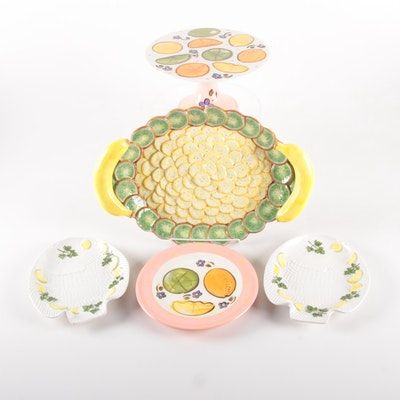 Department 56 Ceramic Tray with Paula Etsy Cakestand, Dish and Fish Plates