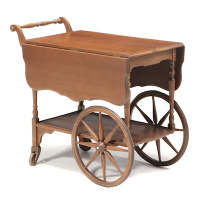 American Colonial Style Maple Drop Leaf Tea Cart, Early to Mid 20th Century