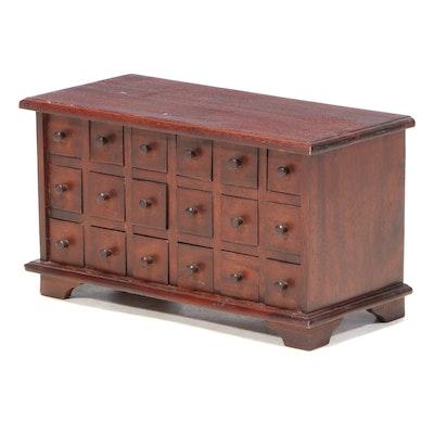 Primitive Style Mahogany Apothecary Chest, 20th Century