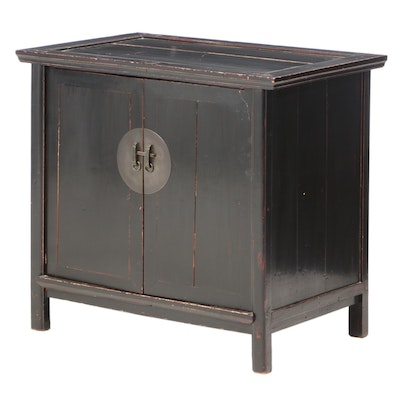 Chinese Style Black Painted Media Cabinet with Pocket Doors, 20th Century