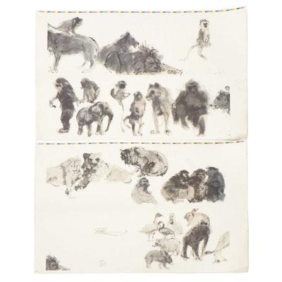"Offset Lithographs from John Tuska ""The Zoo"" Art Book"