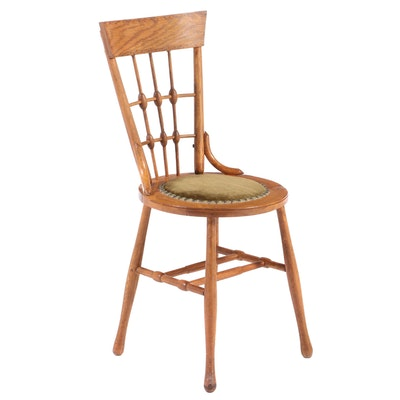 Victorian Oak Side Chair with Nail Tack Upholstered Seat, circa 1900