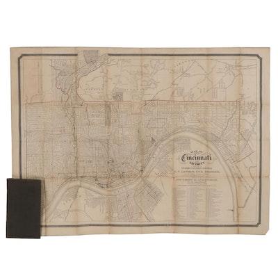 "E. F. Layman Folding Map Engraving ""Map of Cincinnati and Vicinity,"" 1878"