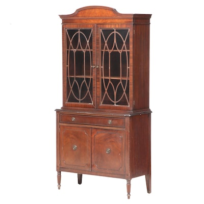 Sheraton Style Mahogany China Cabinet with Glass Front Doors, Mid-20th Century