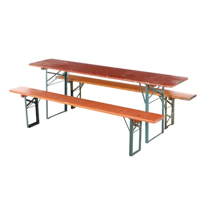 German Polychrome Wood Folding Biergarten Table and Benches