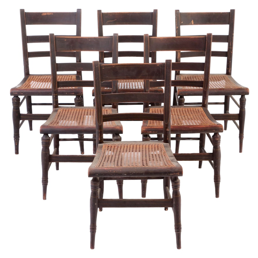 Six Painted Wood Chairs with Caned Seats, Mid-19th Century