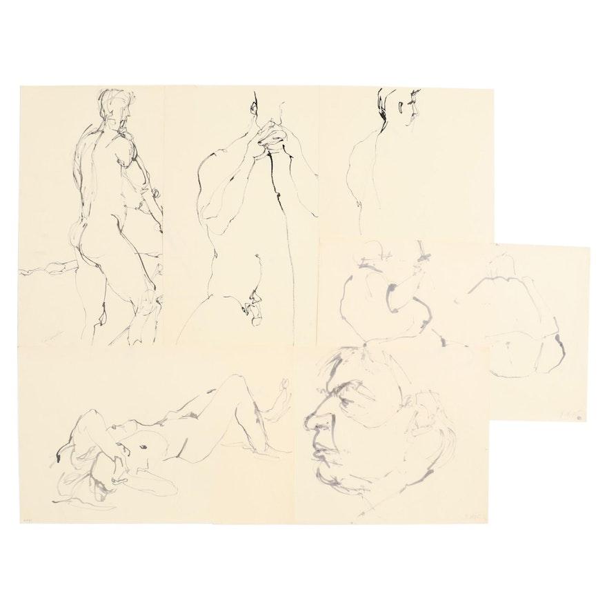 John Tuska Figural Nude Ink Drawings, circa 1998