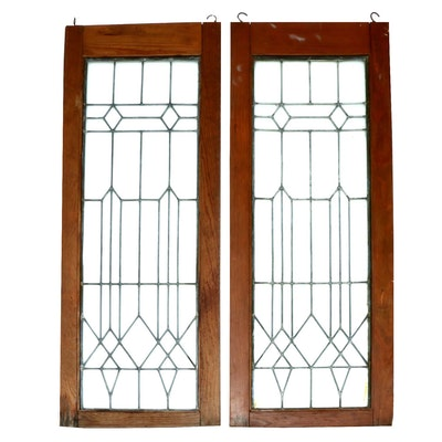 Arts and Crafts Leaded Glass Window Panes, Early/Mid 20th Century