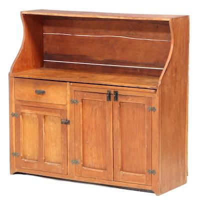 American Primitive Pine Hutch-Back Cupboard, Late 19th Century