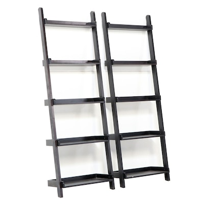 Pair of Contemporary Ebonized Wood Five-Tier Ladder Bookcases