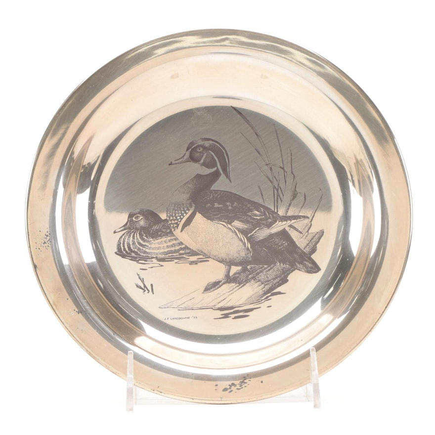 """The National Audubon Society and Franklin Mint Sterling Silver """"Wood Duck"""" Plate"""