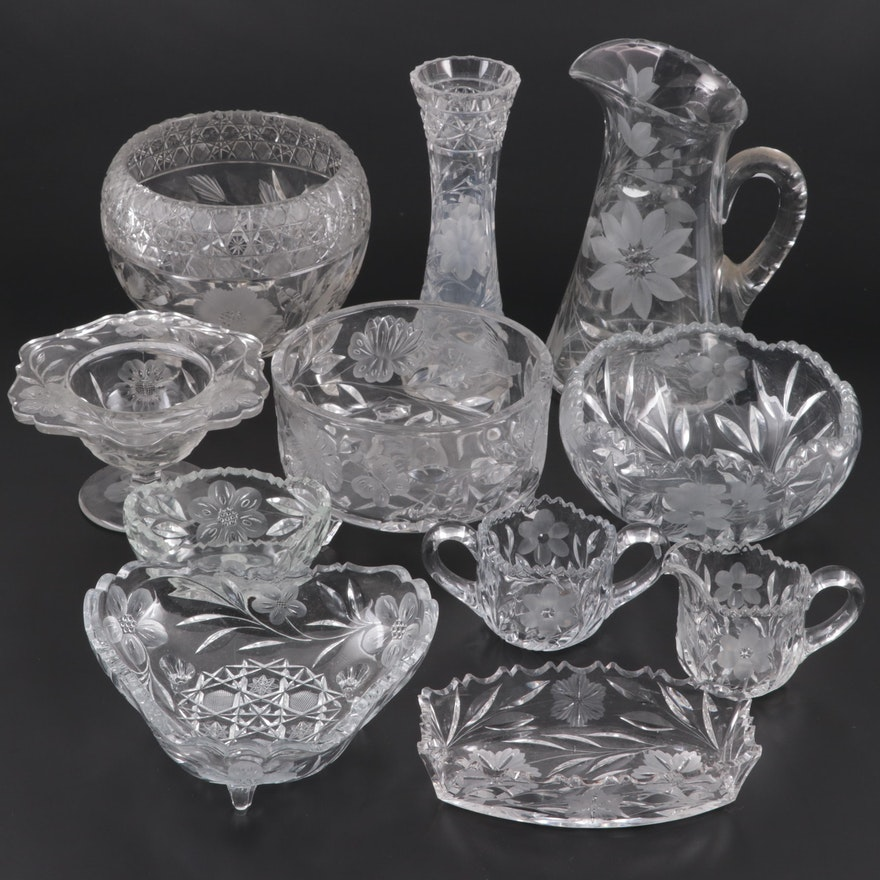 American Brilliant Cut Flower and Harvard Rose Bowl with Other Etched Glass