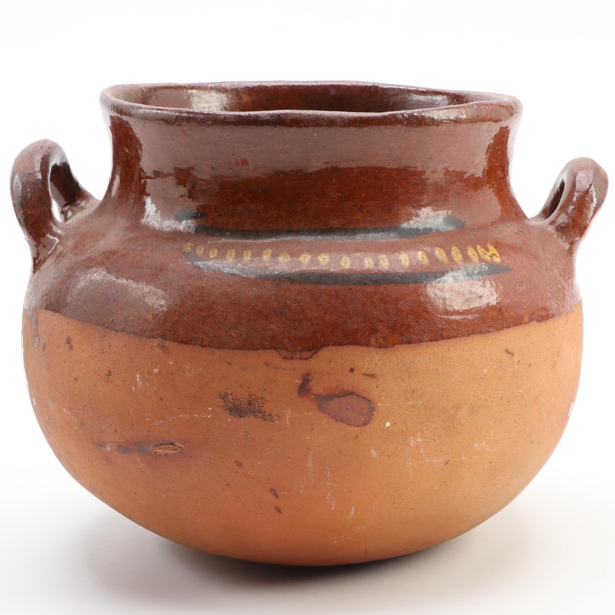Half Glazed Terracotta Two Handled Pot