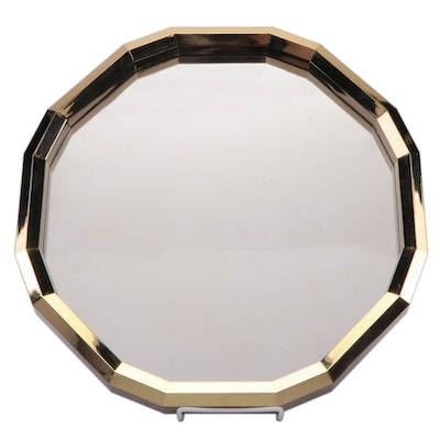 Gold-Tone Plastic Frame Irregular Hexadecagon Wall Mirror