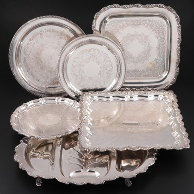 American Silver Plate Chased Trays and Three-Part Meat Platter