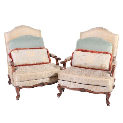 Pair of Drexel-Heritage Custom Upholstered Bergère Chairs, 21st Century