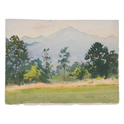 "Edmond J. Fitzgerald Watercolor Painting ""Mt. Pisgah, N.C."""