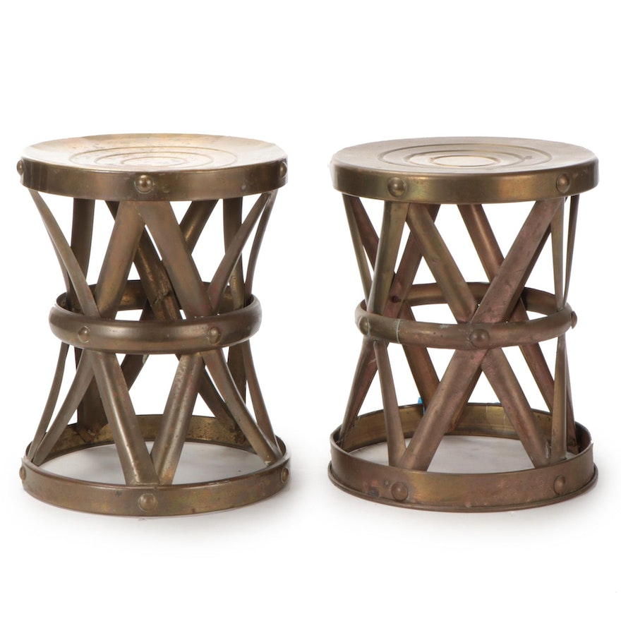 Hong Kong Brass X-Base Drum Stools, Mid to Late 20th Century