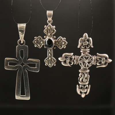 Sterling Black Onyx and Marcasite Cross Pendants